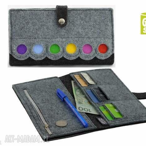 portfele duży portfel z kropkami- maxi, porfel, portmonetka, pojemny, filc, filcowy