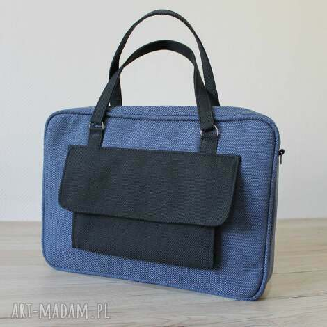 torba na laptop - tkanina granat denim i dodatki czarne, elegancka, nowoczesna