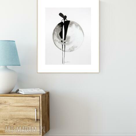 grafika 40x50 cm malowana ręcznie, abstrakcja, styl skandynawski