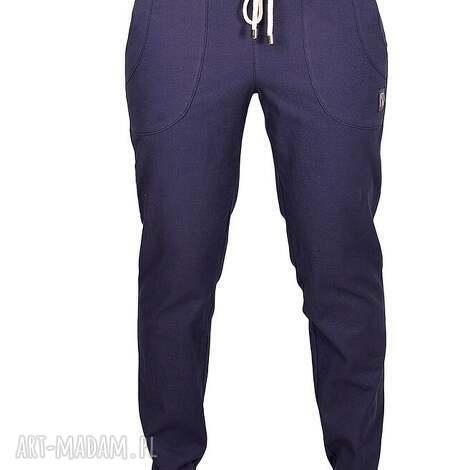granatowe bawełniane spodnie z wiązaniem, jeansy, proste, zwykłe, gładkie