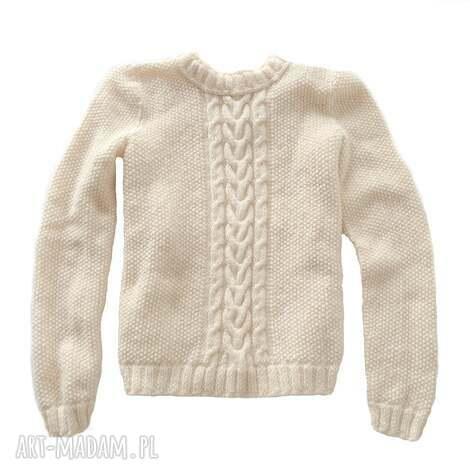 swetry ręcznie robiony sweter ecru m, zima, snowboard, narty, streetwear