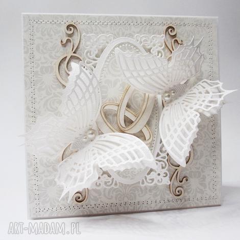 dwie obrączki - kartka w pudełku ślub, rocznica, gratulacje, życzenia