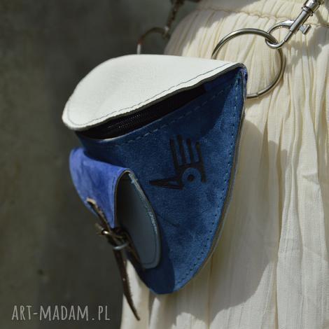 nerka zamsz lico biało-niebieska, nerka, zamszowa, skórzana, waist, suede, leather