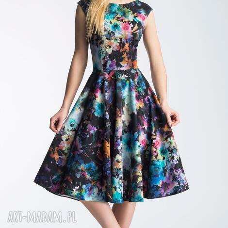 sukienki sukienka scarlett midi azalia, plecy, rozkloszowana, koło, kwiaty