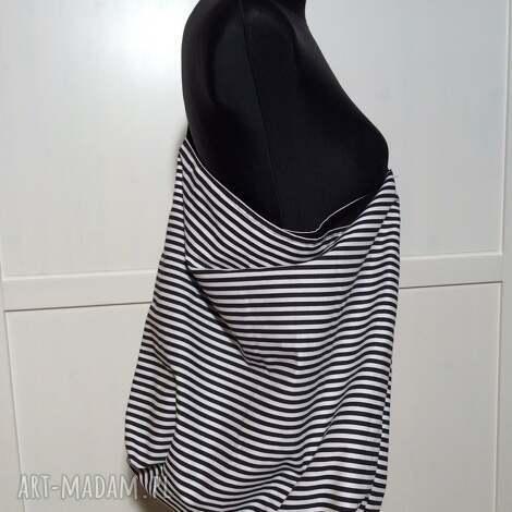 duża torba miejska biało czarna - paski, duża, miejska, casual, prezent