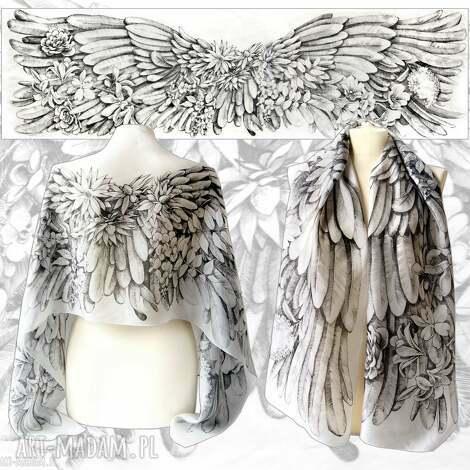 ręcznie rysowany szal jedwabny anielskie skrzydła - niepowtarzalny unikat