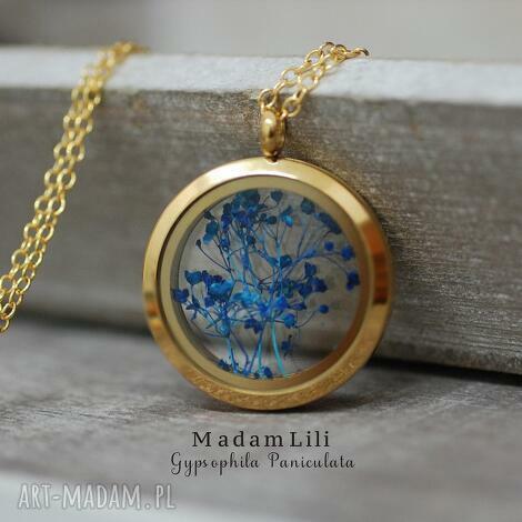 gipsówka medalion z pozłacanym łańcuszkiem - gipsówka, naszyjnik