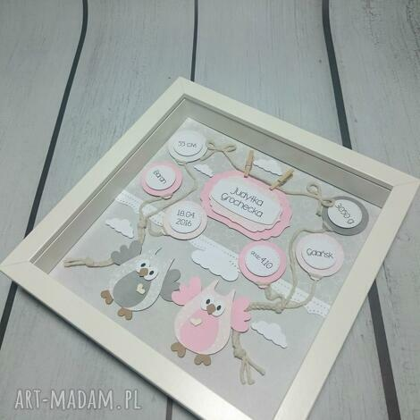 metryczka z sówkami - metryczka, prezent, narodziny, urodziny, chrzest