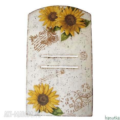 wieszaki słoneczniki - deseczka pod kalendarz, prezent, shabby, zawieszka