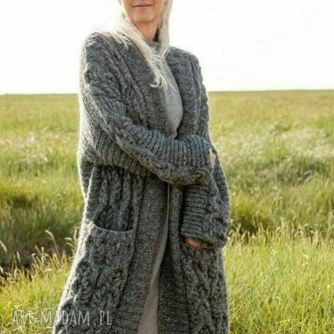 płaszcz - sweter laval, sweter, płaszcz, dziergany, luksusowy, prezent, ciepły