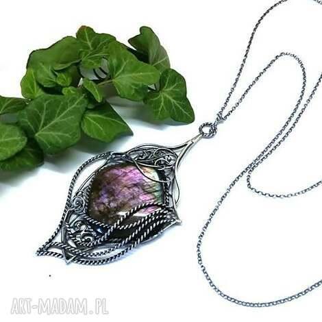 naszyjnik z pięknym purpurowym labradorytem - naszyjnik, srebro, labradoryt, wisior