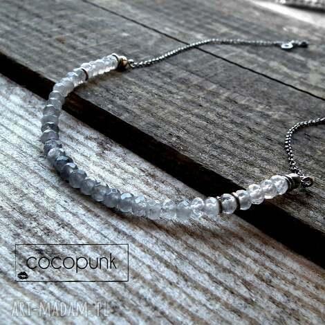 srebro i szary kwarc- naszyjnik hombre - delikatny, krótki, z kamieni, ombre