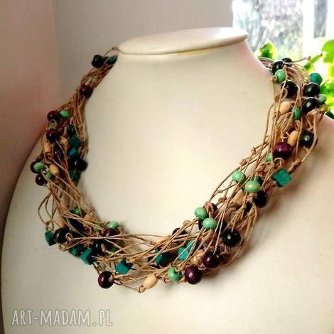 naszyjnik ze sznurka lnianego i drewna korale, kolorowe, drewniane, lniane, natura