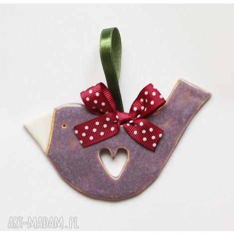 unikalny prezent, ptaszek z sercem, ptak, ceramika, zawieszka, vintage ceramika dom