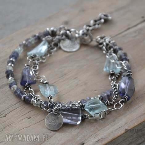 akwamaryn i szafir wodny, srebro, iolit, akwamaryn, swobodna biżuteria