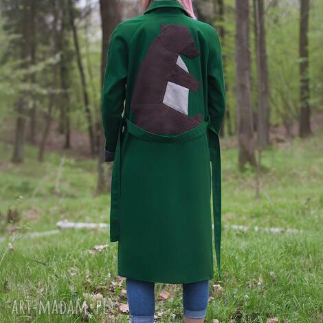 zielony niedźwiedź, wiosenny, bawełan, trench wiązanie