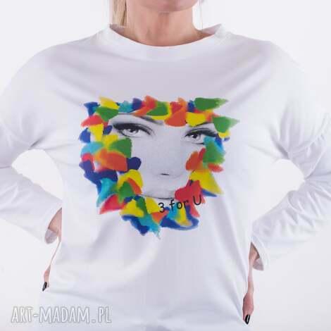 bluzki bluzka organic white-nadruk autorski - moja twarz, bluzka, płaszcz