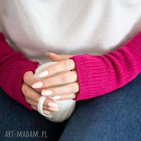 mitenki - fuksja mitenki wełniane, rękawiczki bez palców, prezent dla niej