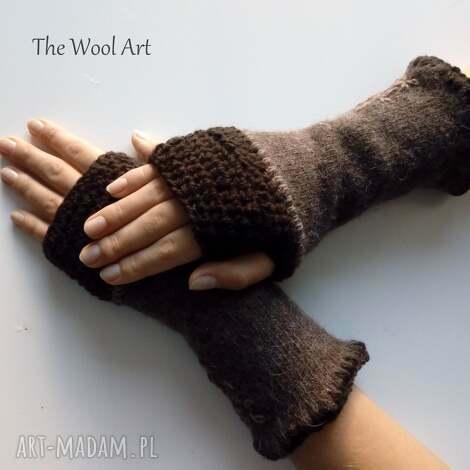rękawiczki mitenki, wełniane kobiece, jesienne