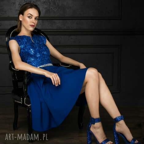 sukienka bg-cek - kobaltowa - midi, cekiny, koronka, wieczorowa, wesele