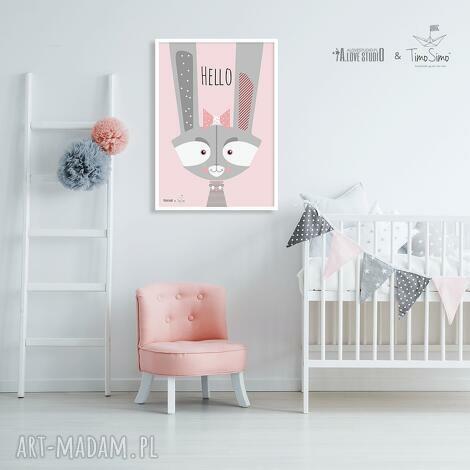 autorski plakat w stylu skandynawskim z antyramą baby bunny - plakat, ozdoba