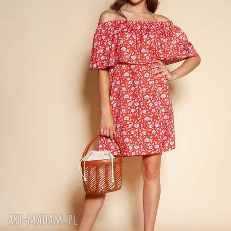 lanti urban fashion krótka sukienka hiszpanka - suk201 czerwony wzór