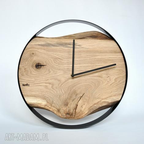 OLDTREE: zegar loft - dębowy - czarna obręcz - 40 cm, drewniany, okrągły