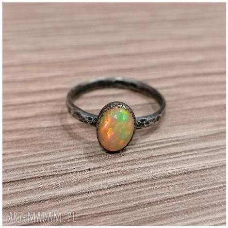 opal z etiopii i srebro - pierścionek 1216 chileart, opal, etiopski