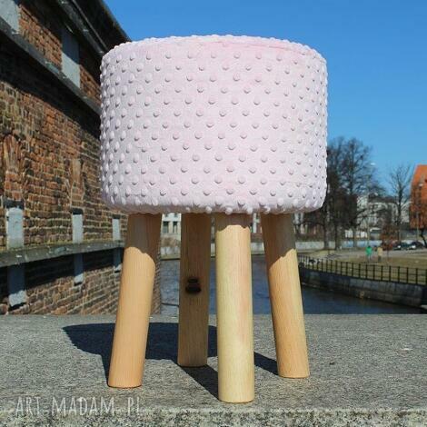 pufa różowe minky 2 - 45 cm białe nogi, puf, taboret, siedzisko, hocker, stołek