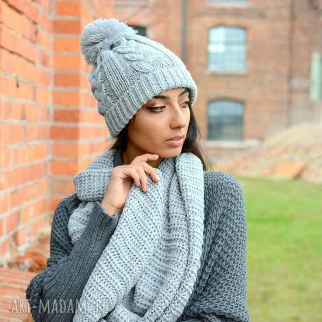 Ekoszale - ciepły, gruby, zimowy damski komplet, czapka z bąblem i komin, włóczka