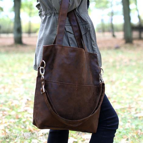 torebki kangoo s j brown classic, torba, torebka, brążowa, zamszowa