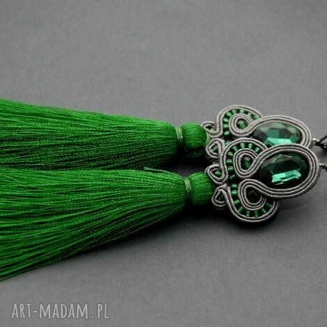 klipsy sutasz z chwostami sznurek, eleganckie, wiszące, wieczorowe, długie, chwost