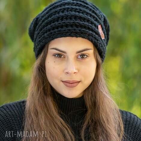 this is it elegancki czarny, czapka, zimowa, wełniana, wełna, zima, ręcznie