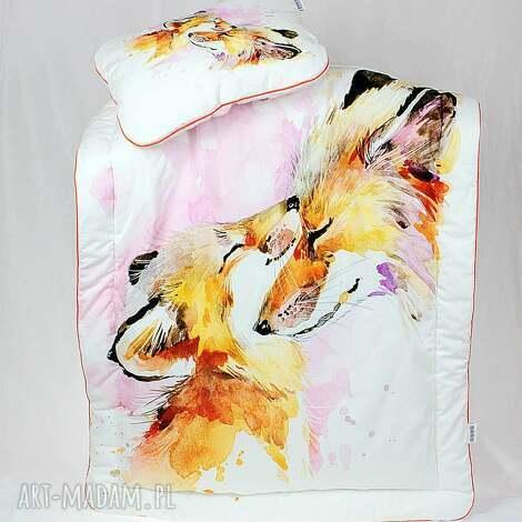 NuvaArt - zestaw do łóżeczka kocyk i płaska poduszka liski niemowlak, spanie