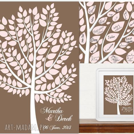 drzewo wpisów gości weselnych - plakat artystyczny alternatywna księga