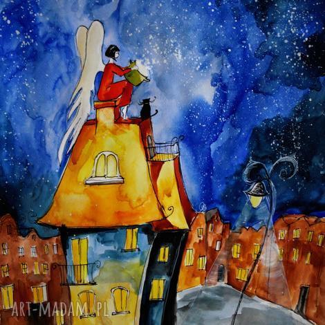 adriana laube art akwarela z dodatkiem piórka anioł gotuje artystki plastyka adriany