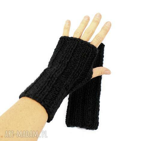 czarne mitenki z wełną zrobione na drutach - mitenki, bez palców, uniwersalne