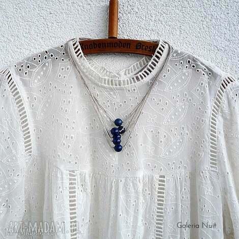 lapis lazuli - lniany naszyjnik - lapis, kulki, lato, len, sznurki, naturalny