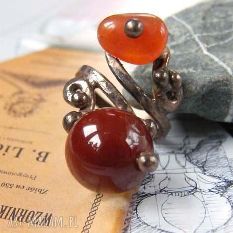 regulowany pierścionek z karneolem, pierścionek, duży