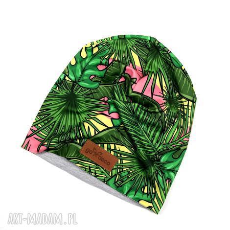 czapka beanie na prezent liście palmy - czapka, beanie, kolorowa, palmy, liście