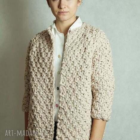swetry short beige chunky, sweter, gruby, dziergany, beżowy
