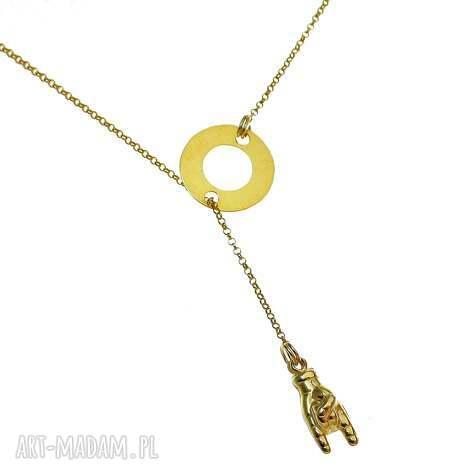 poplavsky naszyjnik zŁoty letrock - naszyjnik, złoty, srebro, ręka, rock