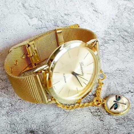 złoty zegarek z zawieszką ważką, modny-zegarek, na-rękę, na-prezent