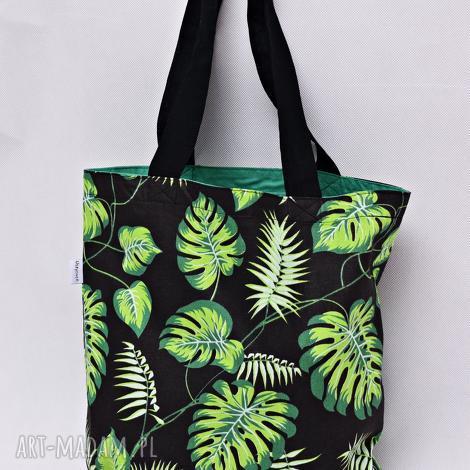torba na zakupy shopperka liście monstera, torba, zakupy, ramię, liście, monstera