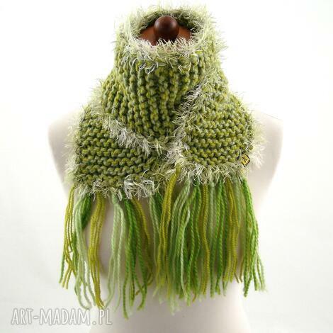 szalik zielony z frędzlami - szaliczek, frędzle, prezent, zimowy zima