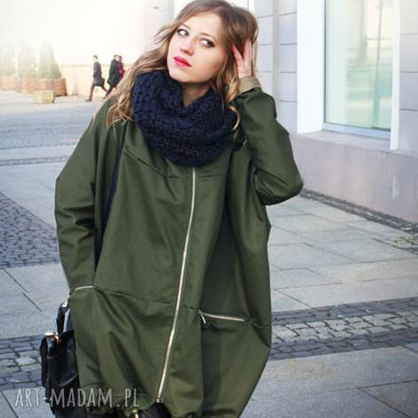 khaki płaszcz oversize ogromny kaptur na jesień rozmiar m, kurtka khaki, kurtka