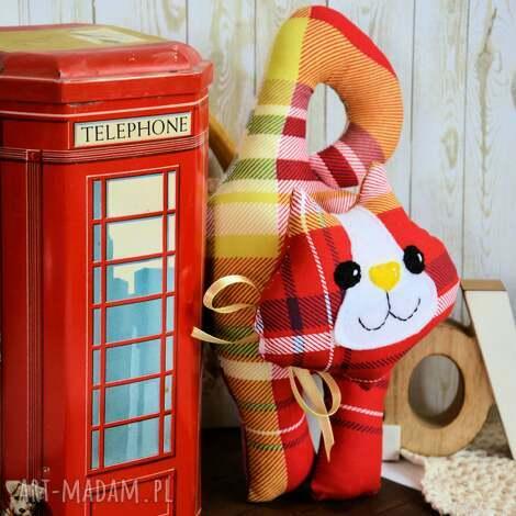 kotek - zawieszka - leoś (kot, kratka dziecko, folk, kolorowa)