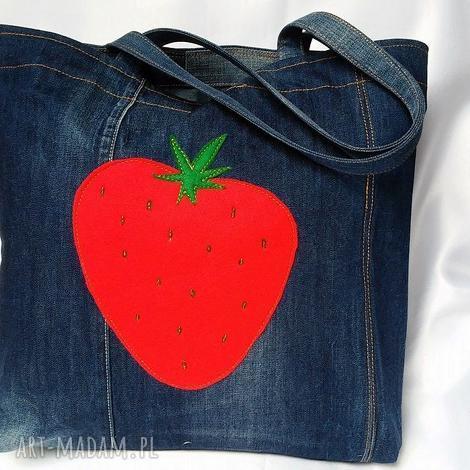 duża torba z jeansu truskawką, torba, jeans, denim, truskawka, filc