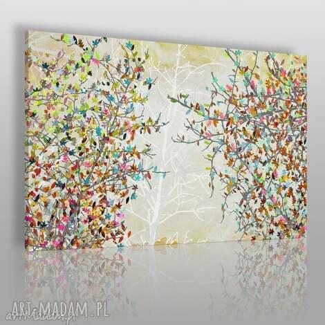 obraz na płótnie - drzewa liście 120x80 cm 23001, drzewa, liście, kolory, gałęzie