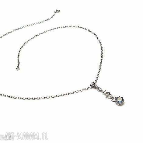 topaz w koronkach - naszyjnik, srebro oksydowane mystic, metaloplastyka, kamień
